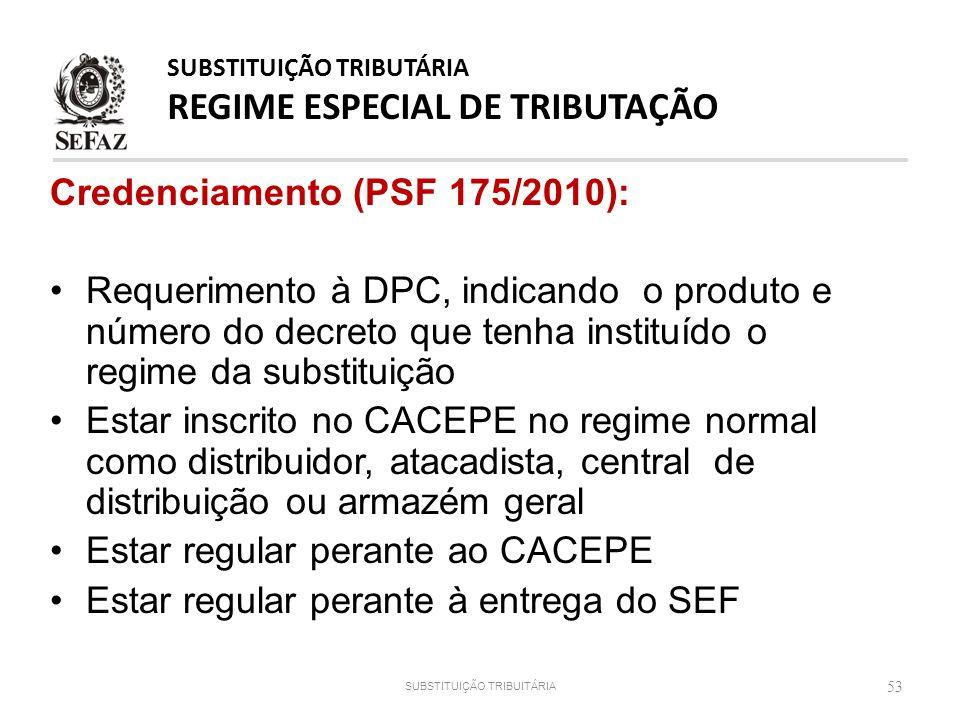 Credenciamento (PSF 175/2010): Requerimento à DPC, indicando o produto e número do decreto que tenha instituído o regime da substituição Estar inscrit