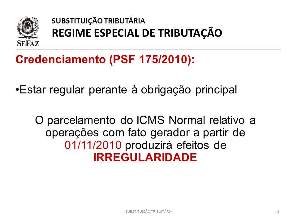 Credenciamento (PSF 175/2010): Estar regular perante à obrigação principal O parcelamento do ICMS Normal relativo a operações com fato gerador a parti