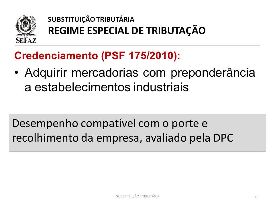 Credenciamento (PSF 175/2010): Adquirir mercadorias com preponderância a estabelecimentos industriais 55 Desempenho compatível com o porte e recolhime