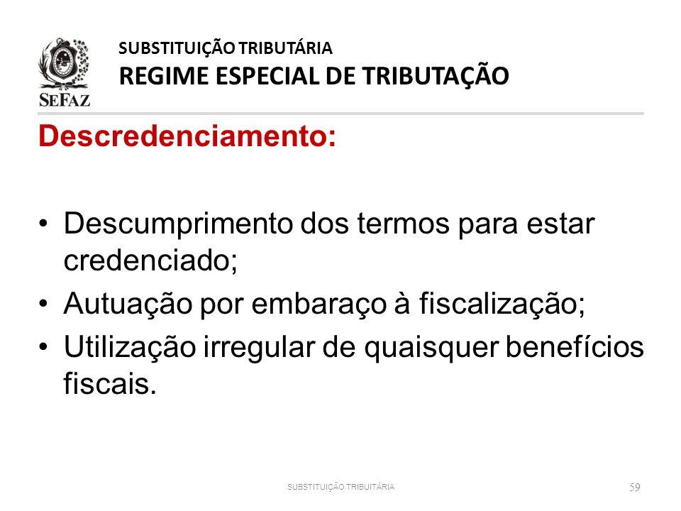 Descredenciamento: Descumprimento dos termos para estar credenciado; Autuação por embaraço à fiscalização; Utilização irregular de quaisquer benefício