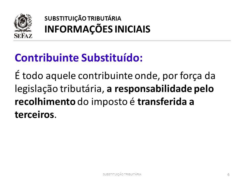 Contribuinte Substituído: É todo aquele contribuinte onde, por força da legislação tributária, a responsabilidade pelo recolhimento do imposto é trans
