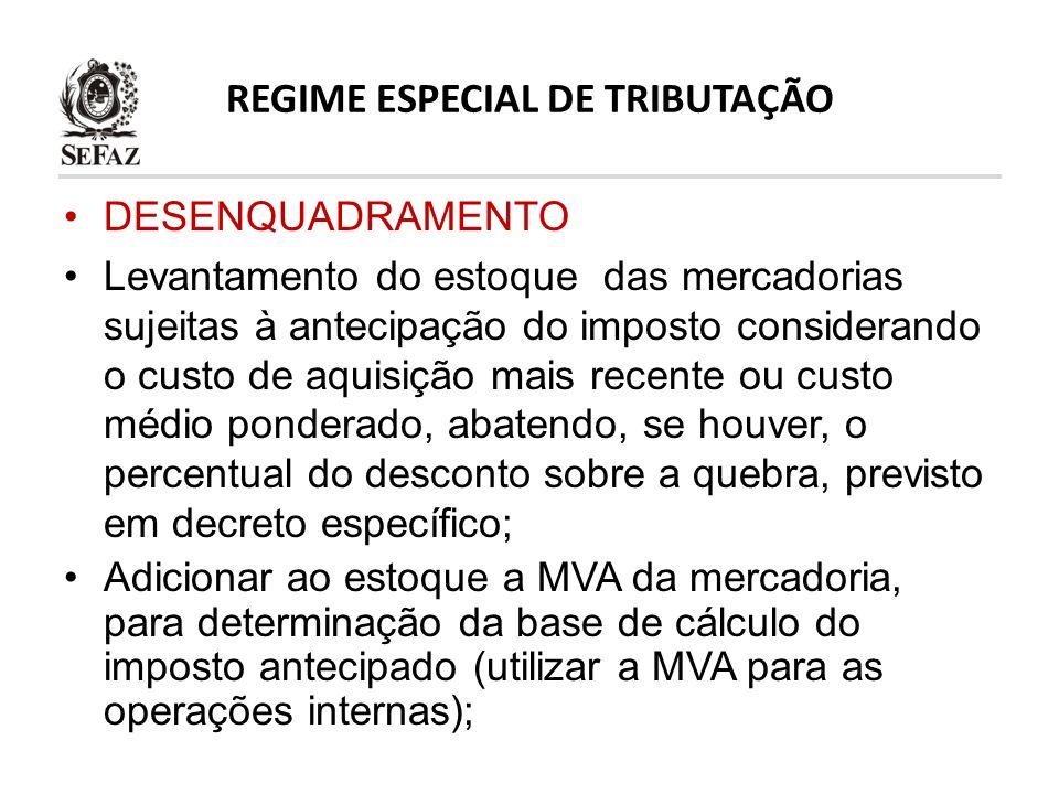 REGIME ESPECIAL DE TRIBUTAÇÃO DESENQUADRAMENTO Levantamento do estoque das mercadorias sujeitas à antecipação do imposto considerando o custo de aquis