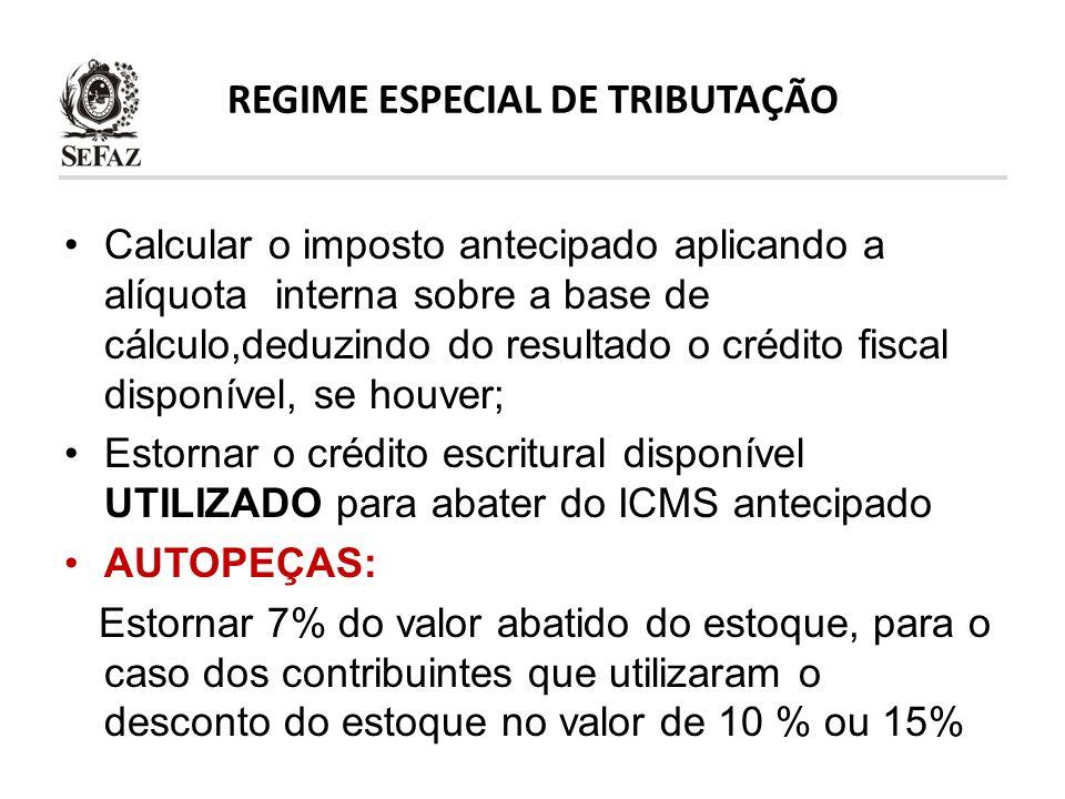 REGIME ESPECIAL DE TRIBUTAÇÃO Calcular o imposto antecipado aplicando a alíquota interna sobre a base de cálculo,deduzindo do resultado o crédito fisc