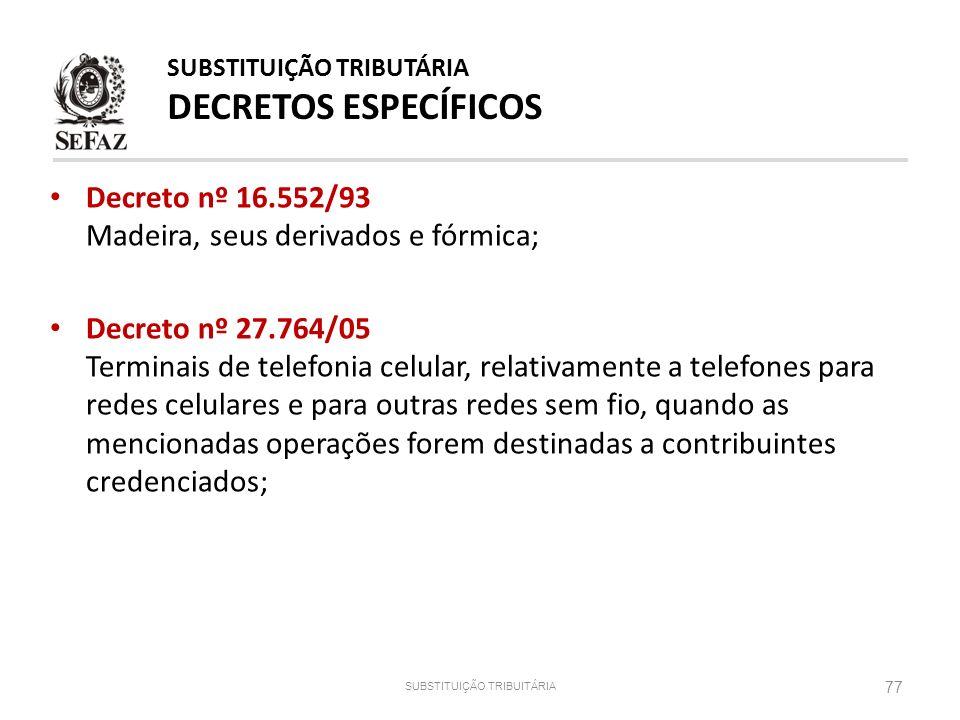 Decreto nº 16.552/93 Madeira, seus derivados e fórmica; Decreto nº 27.764/05 Terminais de telefonia celular, relativamente a telefones para redes celu