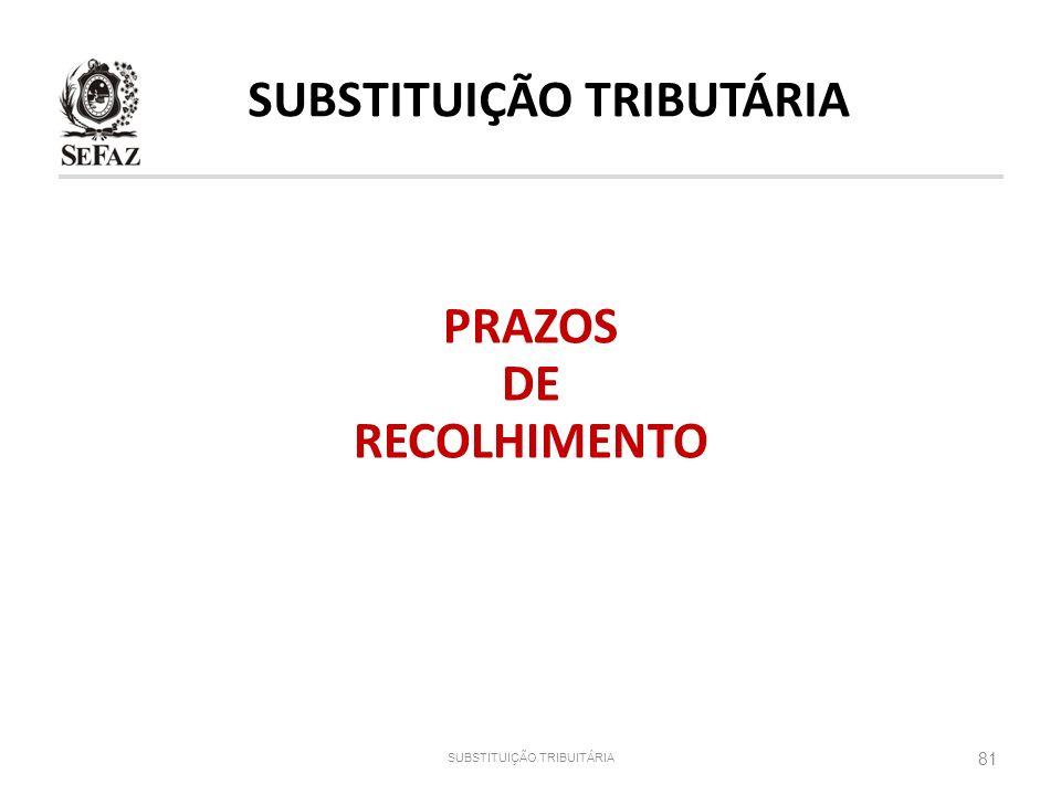 PRAZOS DE RECOLHIMENTO 81 SUBSTITUIÇÃO TRIBUITÁRIA SUBSTITUIÇÃO TRIBUTÁRIA