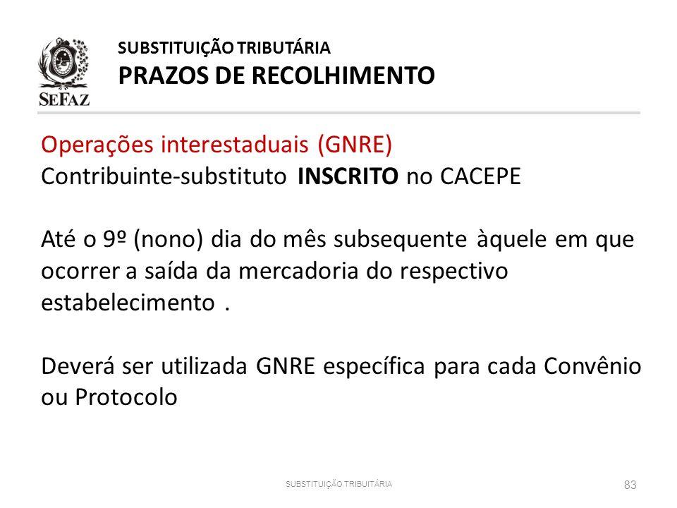 83 SUBSTITUIÇÃO TRIBUITÁRIA SUBSTITUIÇÃO TRIBUTÁRIA PRAZOS DE RECOLHIMENTO Operações interestaduais (GNRE) Contribuinte-substituto INSCRITO no CACEPE