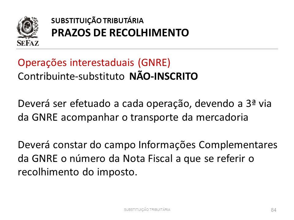 84 SUBSTITUIÇÃO TRIBUITÁRIA SUBSTITUIÇÃO TRIBUTÁRIA PRAZOS DE RECOLHIMENTO Operações interestaduais (GNRE) Contribuinte-substituto NÃO-INSCRITO Deverá