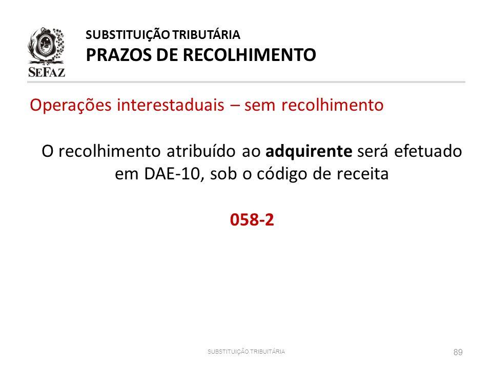 89 SUBSTITUIÇÃO TRIBUITÁRIA SUBSTITUIÇÃO TRIBUTÁRIA PRAZOS DE RECOLHIMENTO Operações interestaduais – sem recolhimento O recolhimento atribuído ao adq