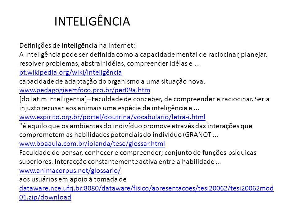 Definições de Inteligência na internet: A inteligência pode ser definida como a capacidade mental de raciocinar, planejar, resolver problemas, abstrai