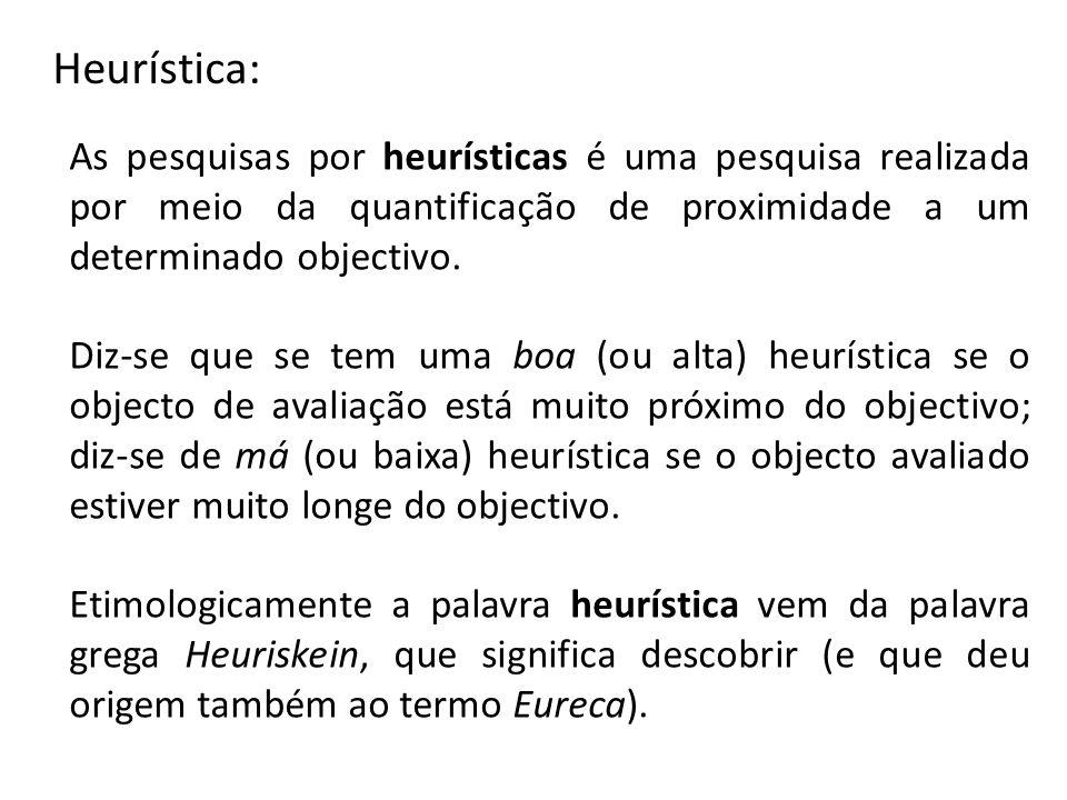 Heurística: As pesquisas por heurísticas é uma pesquisa realizada por meio da quantificação de proximidade a um determinado objectivo. Diz-se que se t