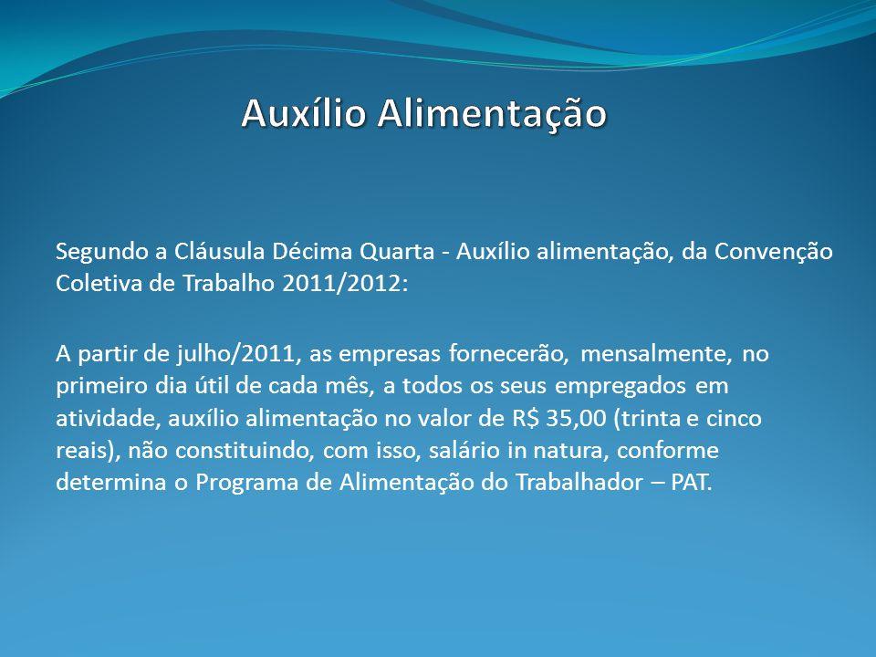Segundo a Cláusula Décima Quarta - Auxílio alimentação, da Convenção Coletiva de Trabalho 2011/2012: A partir de julho/2011, as empresas fornecerão, m