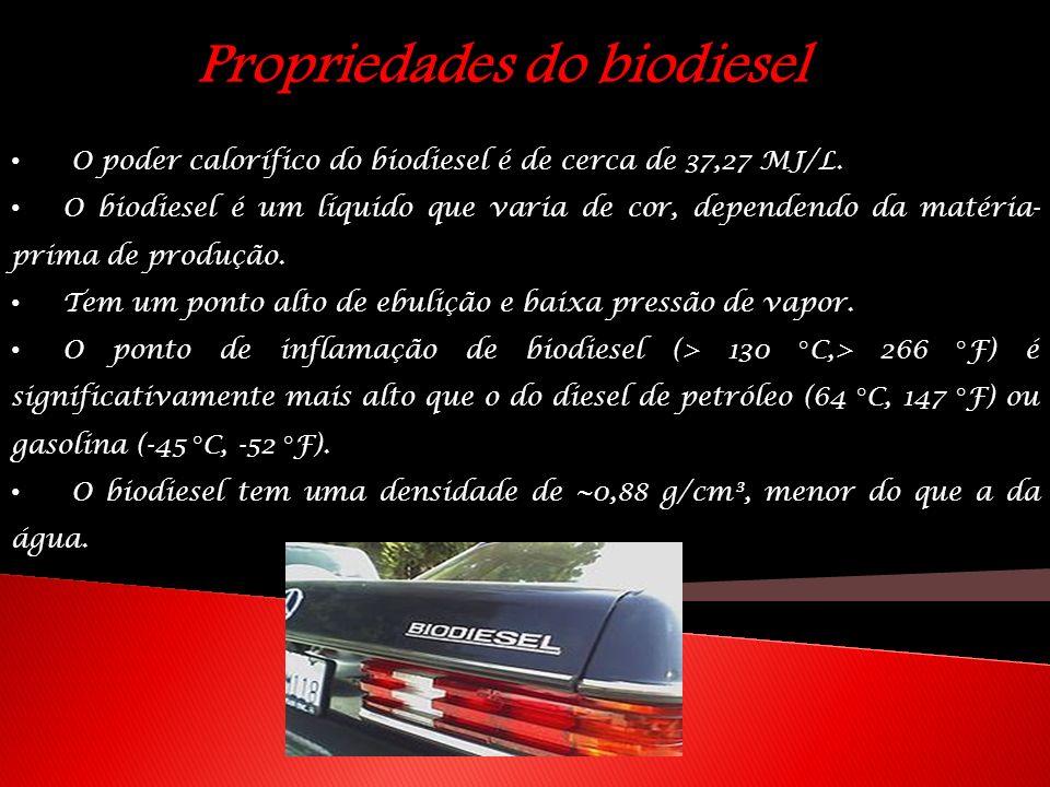 Propriedades do biodiesel O poder calorífico do biodiesel é de cerca de 37,27 MJ/L. O biodiesel é um líquido que varia de cor, dependendo da matéria-