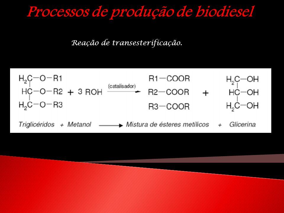 Processos de produção de biodiesel Reação de transesterificação.