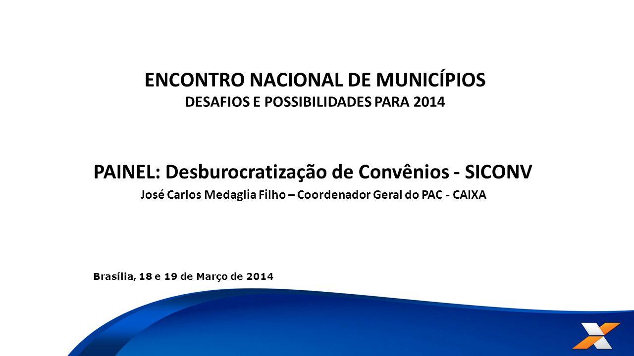 ENCONTRO NACIONAL DE MUNICÍPIOS DESAFIOS E POSSIBILIDADES PARA 2014 PAINEL: Desburocratização de Convênios - SICONV José Carlos Medaglia Filho – Coord