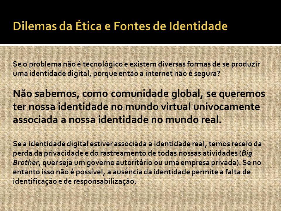 Se o problema não é tecnológico e existem diversas formas de se produzir uma identidade digital, porque então a internet não é segura? Não sabemos, co
