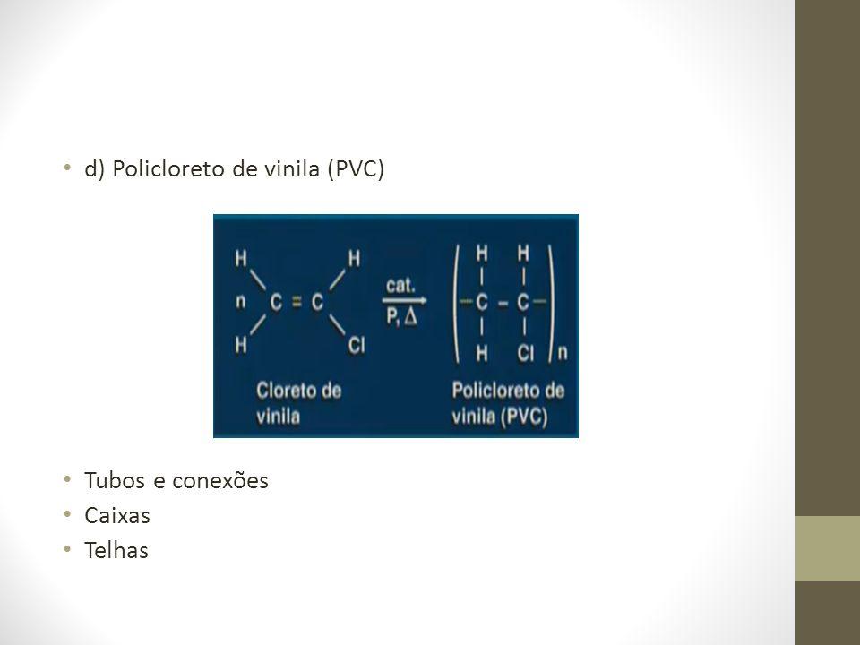 d) Policloreto de vinila (PVC) Tubos e conexões Caixas Telhas