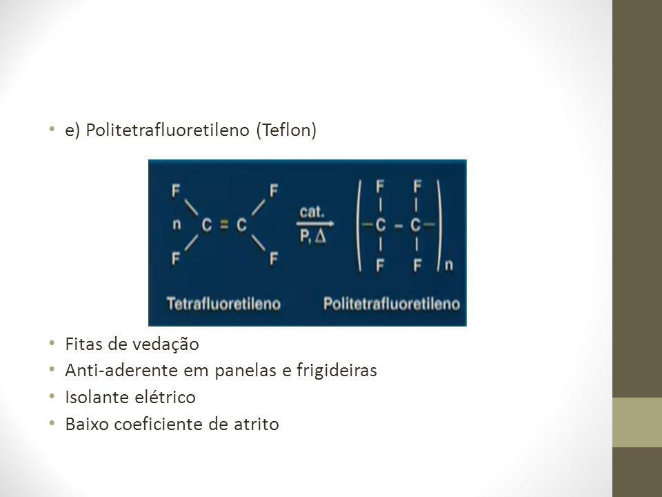 e) Politetrafluoretileno (Teflon) Fitas de vedação Anti-aderente em panelas e frigideiras Isolante elétrico Baixo coeficiente de atrito