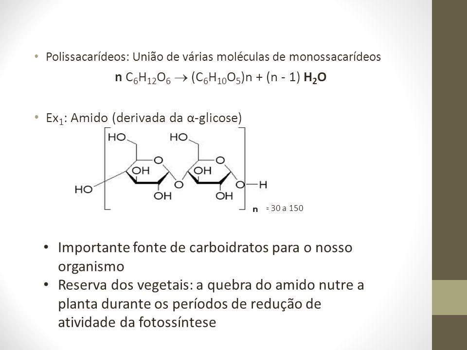 Polissacarídeos: União de várias moléculas de monossacarídeos n C 6 H 12 O 6 (C 6 H 10 O 5 )n + (n - 1) H 2 O Ex 1 : Amido (derivada da α-glicose) = 3