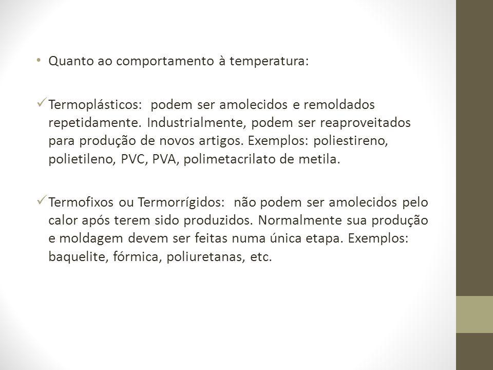 Quanto ao comportamento à temperatura: Termoplásticos: podem ser amolecidos e remoldados repetidamente. Industrialmente, podem ser reaproveitados para