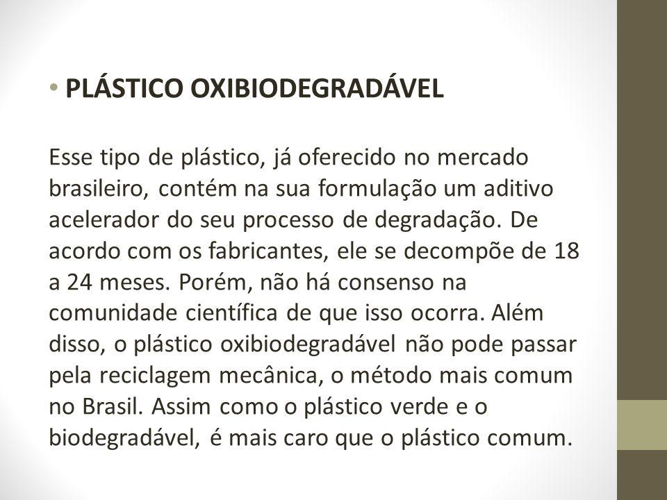 PLÁSTICO OXIBIODEGRADÁVEL Esse tipo de plástico, já oferecido no mercado brasileiro, contém na sua formulação um aditivo acelerador do seu processo de