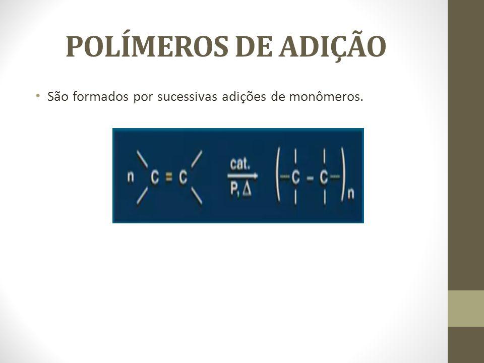 POLÍMEROS DE ADIÇÃO São formados por sucessivas adições de monômeros.