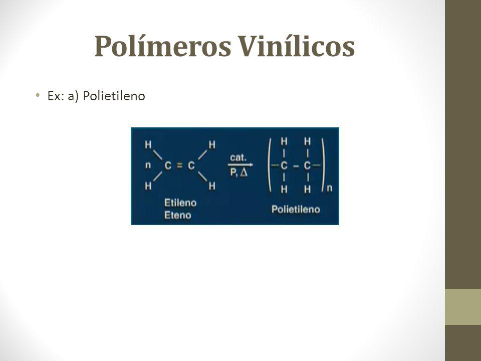 Polímeros Vinílicos Ex: a) Polietileno