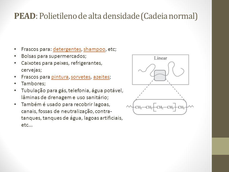 PEAD: Polietileno de alta densidade (Cadeia normal) Frascos para: detergentes, shampoo, etc;detergentesshampoo Bolsas para supermercados; Caixotes par