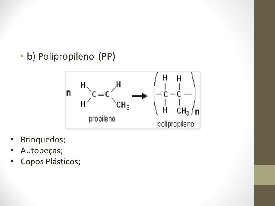 b) Polipropileno (PP) Brinquedos; Autopeças; Copos Plásticos;