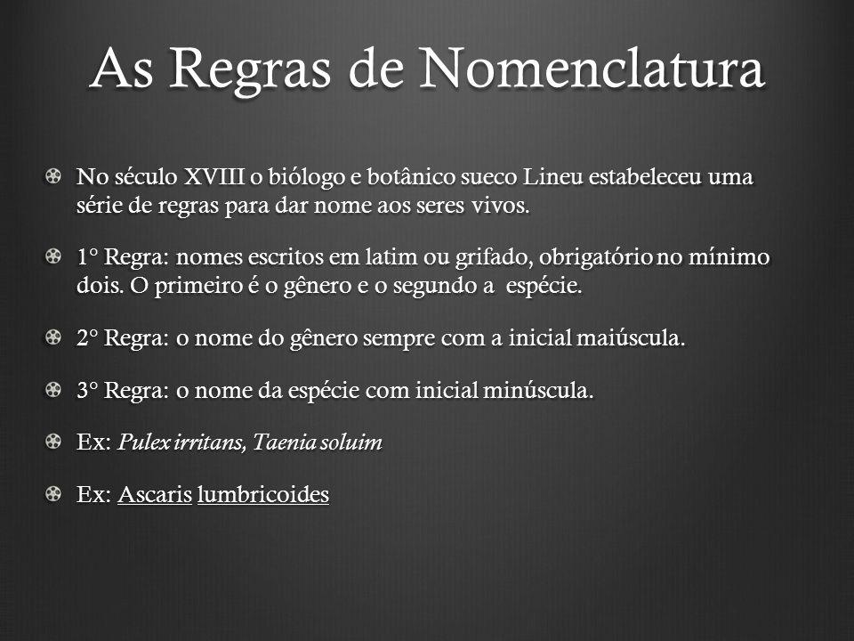 As Regras de Nomenclatura No século XVIII o biólogo e botânico sueco Lineu estabeleceu uma série de regras para dar nome aos seres vivos.