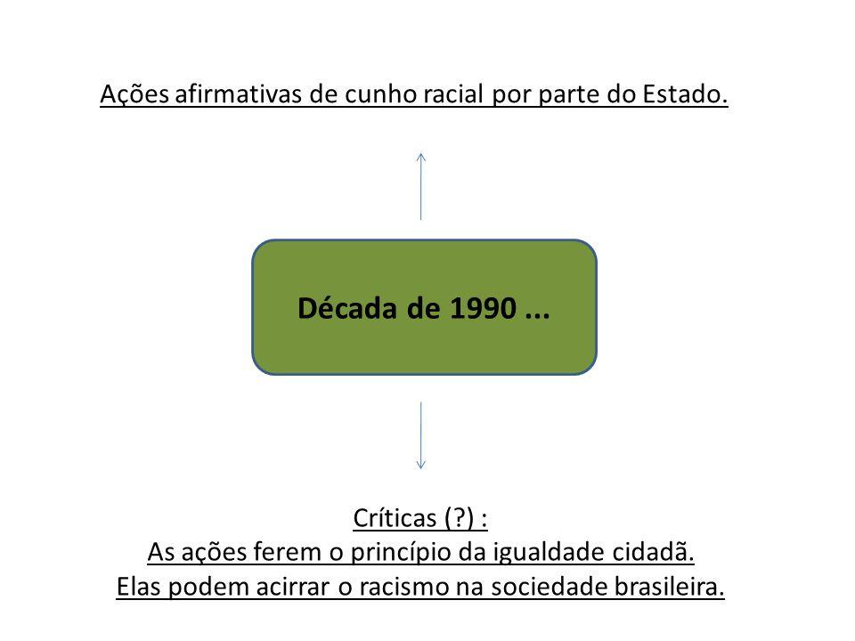 Década de 1990... Ações afirmativas de cunho racial por parte do Estado. Críticas (?) : As ações ferem o princípio da igualdade cidadã. Elas podem aci