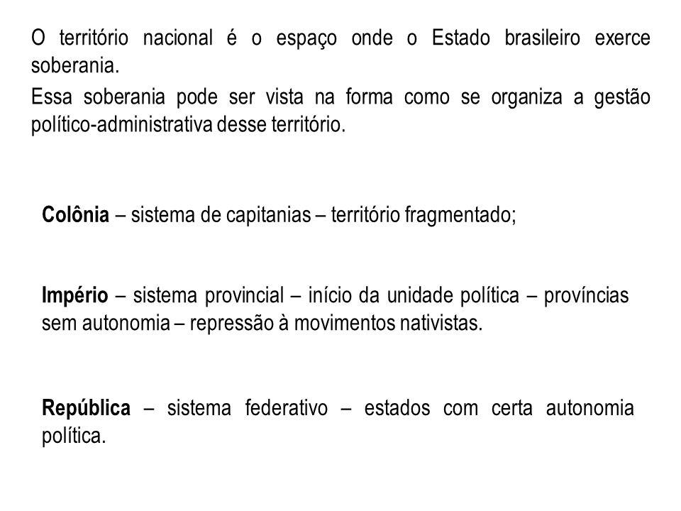 O território nacional é o espaço onde o Estado brasileiro exerce soberania. Essa soberania pode ser vista na forma como se organiza a gestão político-