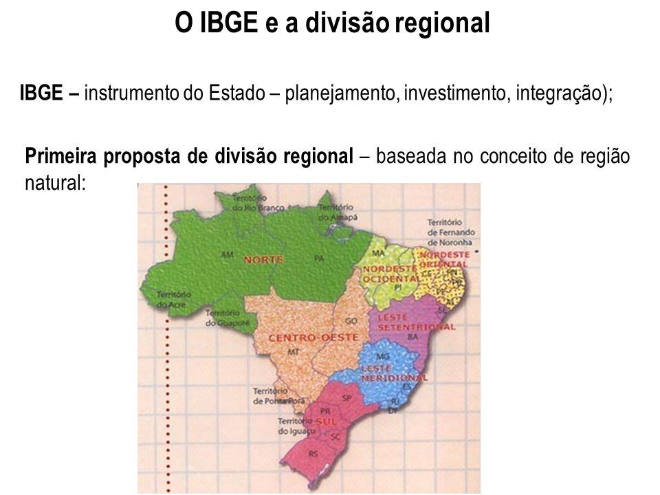 O IBGE e a divisão regional IBGE – instrumento do Estado – planejamento, investimento, integração); Primeira proposta de divisão regional – baseada no