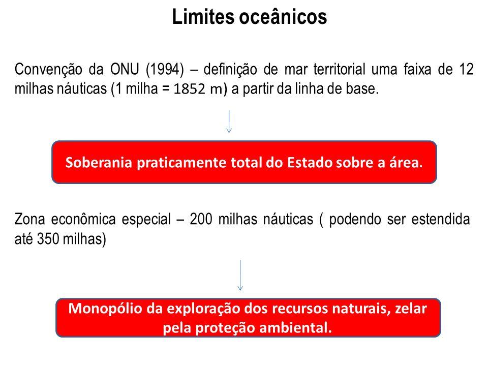 Limites oceânicos Convenção da ONU (1994) – definição de mar territorial uma faixa de 12 milhas náuticas (1 milha = 1852 m) a partir da linha de base.
