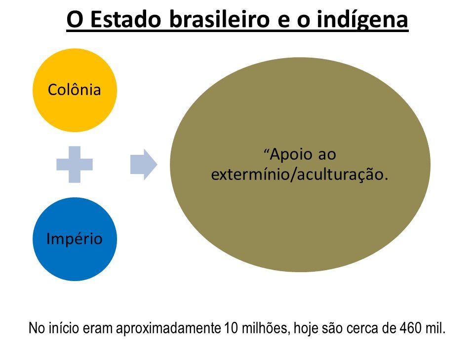 O Estado brasileiro e o indígena ColôniaImpério Apoio ao extermínio/aculturação. No início eram aproximadamente 10 milhões, hoje são cerca de 460 mil.