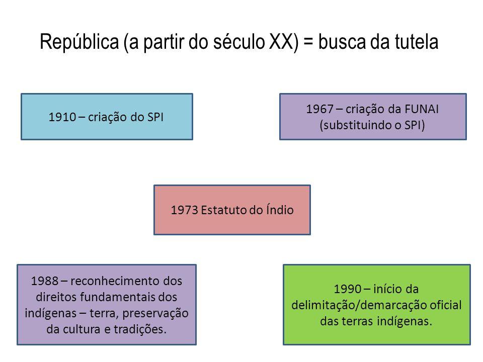 República (a partir do século XX) = busca da tutela 1910 – criação do SPI 1967 – criação da FUNAI (substituindo o SPI) 1973 Estatuto do Índio 1988 – r