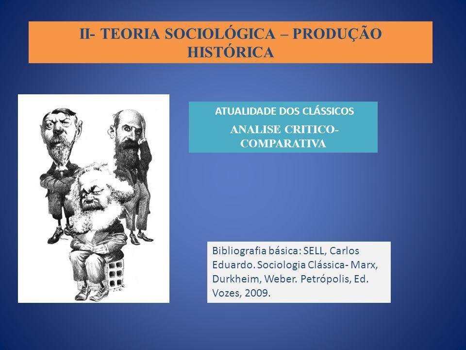 II- TEORIA SOCIOLÓGICA – PRODUÇÃO HISTÓRICA ATUALIDADE DOS CLÁSSICOS ANALISE CRITICO- COMPARATIVA Bibliografia básica: SELL, Carlos Eduardo. Sociologi