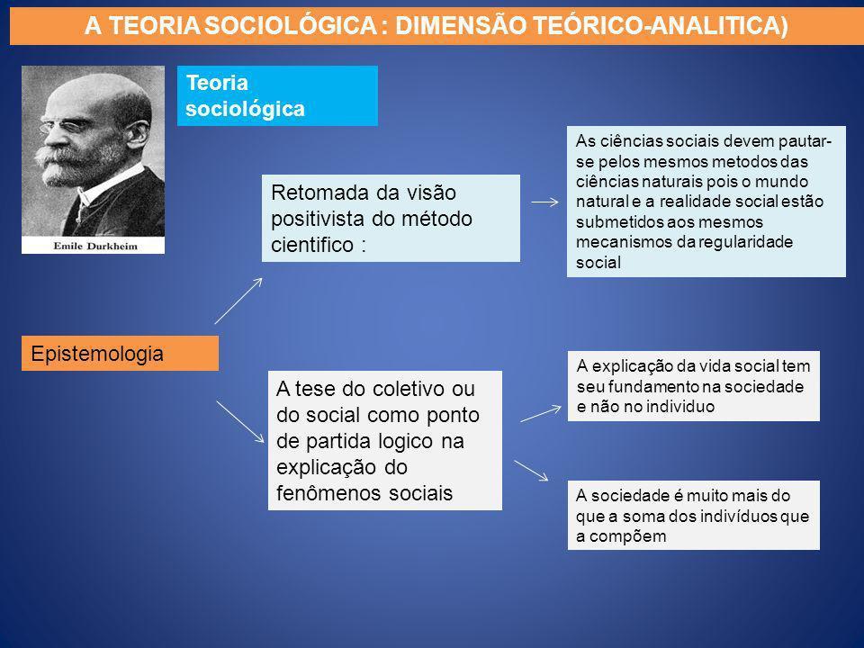 Teoria sociológica Epistemologia A TEORIA SOCIOLÓGICA : DIMENSÃO TEÓRICO-ANALITICA) Retomada da visão positivista do método cientifico : A tese do col