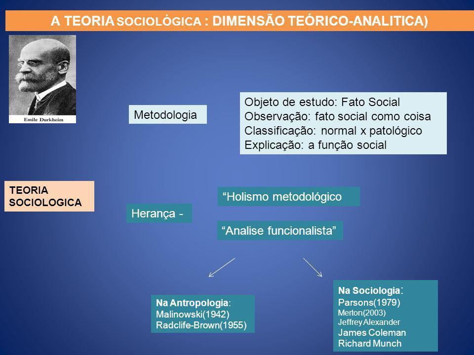 A TEORIA SOCIOLÓGICA : DIMENSÃO TEÓRICO-ANALITICA) TEORIA SOCIOLOGICA Metodologia Herança - Objeto de estudo: Fato Social Observação: fato social como