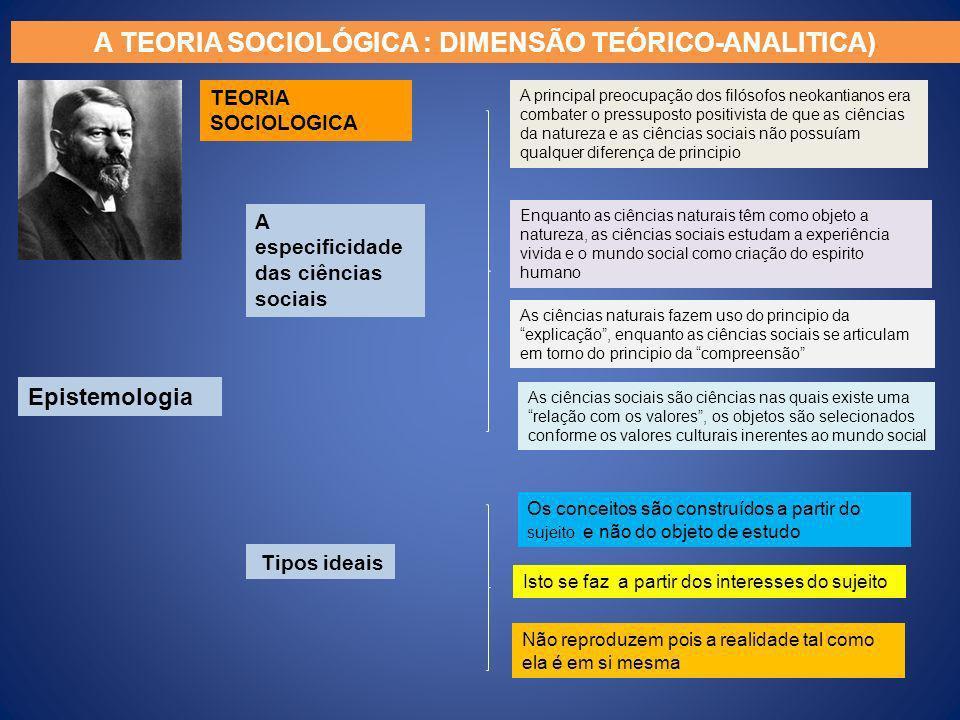 A TEORIA SOCIOLÓGICA : DIMENSÃO TEÓRICO-ANALITICA) TEORIA SOCIOLOGICA Epistemologia A especificidade das ciências sociais Tipos ideais A principal pre