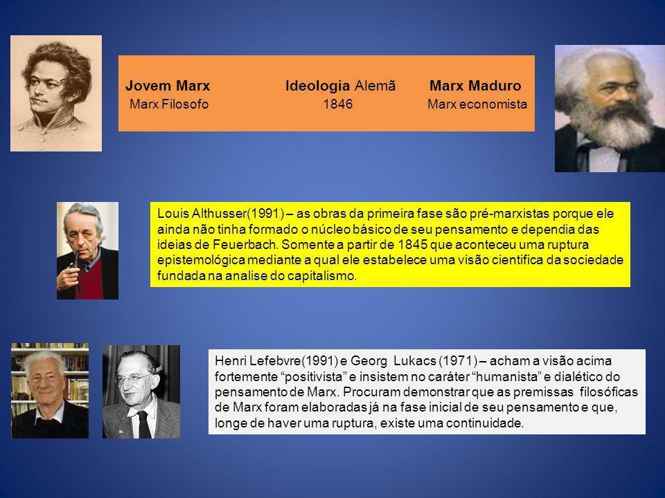 Jovem Marx Ideologia Alemã Marx Maduro Marx Filosofo 1846 Marx economista Louis Althusser(1991) – as obras da primeira fase são pré-marxistas porque e