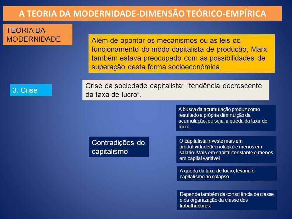 A TEORIA DA MODERNIDADE-DIMENSÃO TEÓRICO-EMPÍRICA TEORIA DA MODERNIDADE 3. Crise Além de apontar os mecanismos ou as leis do funcionamento do modo cap