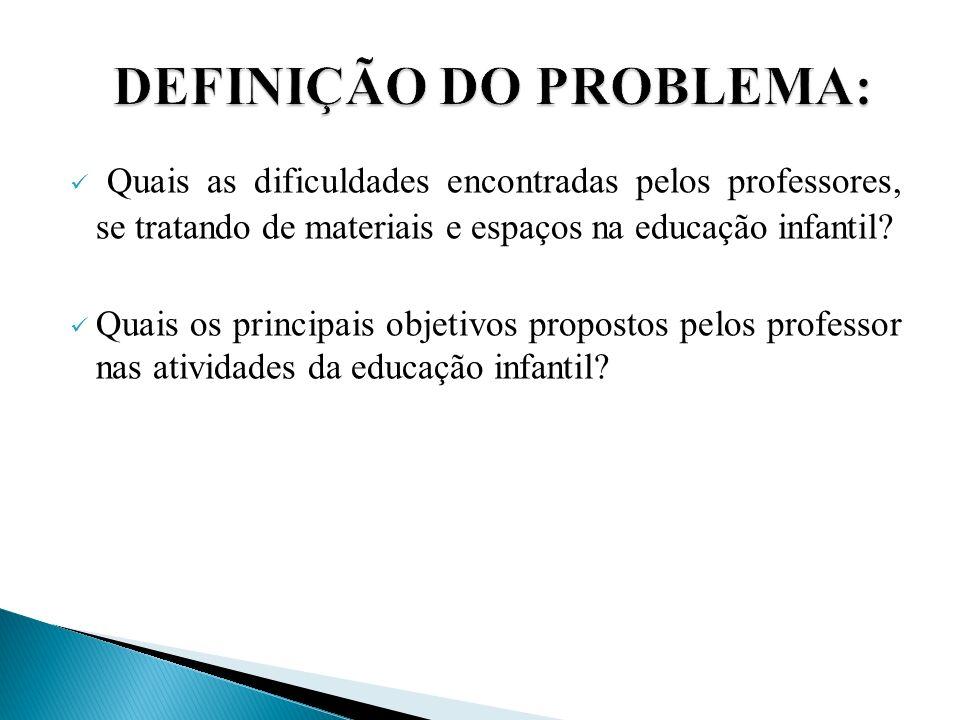 Quais as dificuldades encontradas pelos professores, se tratando de materiais e espaços na educação infantil? Quais os principais objetivos propostos
