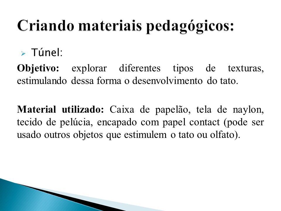 Túnel: Objetivo: explorar diferentes tipos de texturas, estimulando dessa forma o desenvolvimento do tato. Material utilizado: Caixa de papelão, tela
