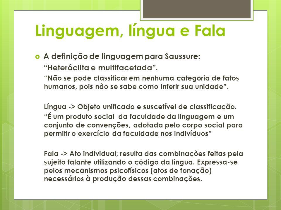 Linguagem, língua e Fala A definição de linguagem para Saussure: Heteróclita e multifacetada. Não se pode classificar em nenhuma categoria de fatos hu
