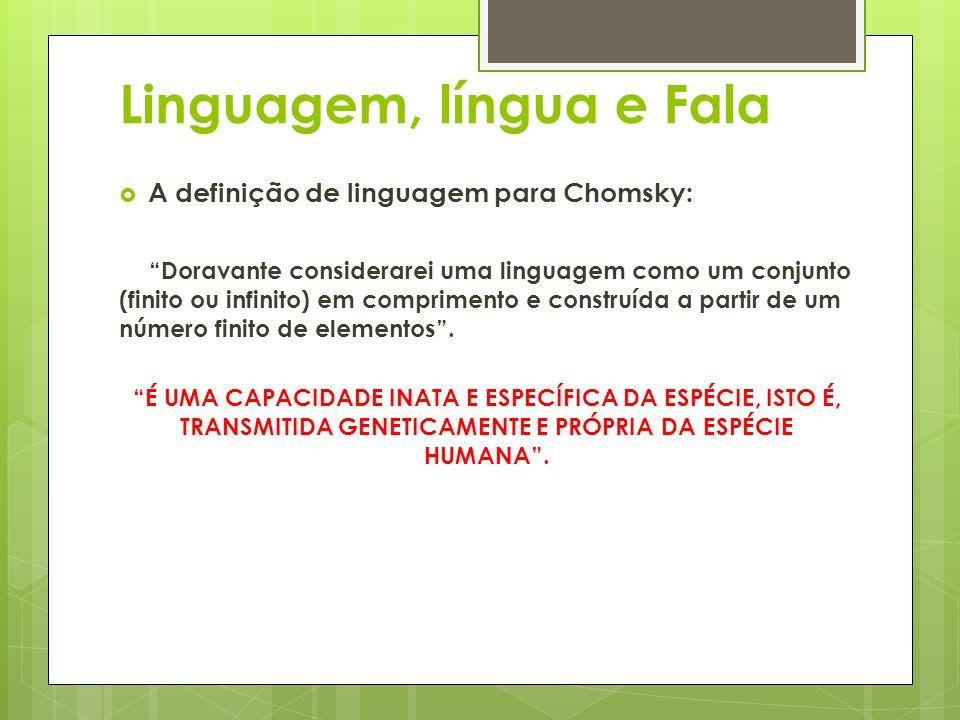Linguagem, língua e Fala A definição de linguagem para Chomsky: Doravante considerarei uma linguagem como um conjunto (finito ou infinito) em comprime