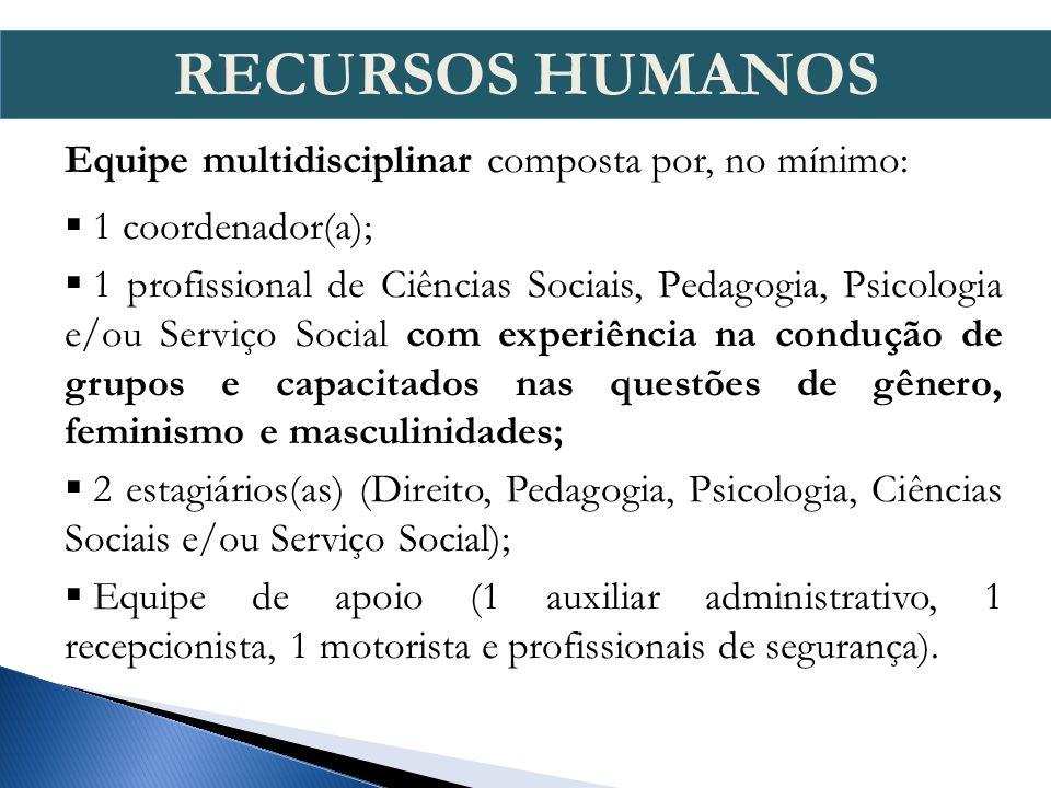 Equipe multidisciplinar composta por, no mínimo: 1 coordenador(a); 1 profissional de Ciências Sociais, Pedagogia, Psicologia e/ou Serviço Social com e