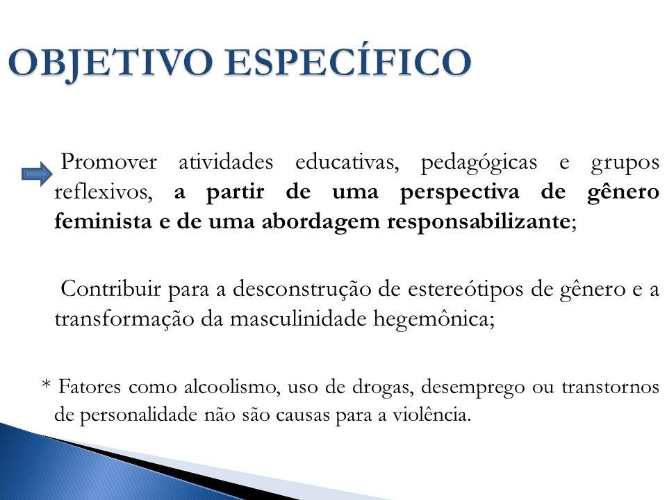 OBJETIVO ESPECÍFICO Promover atividades educativas, pedagógicas e grupos reflexivos, a partir de uma perspectiva de gênero feminista e de uma abordagem responsabilizante; Contribuir para a desconstrução de estereótipos de gênero e a transformação da masculinidade hegemônica; * Fatores como alcoolismo, uso de drogas, desemprego ou transtornos de personalidade não são causas para a violência.