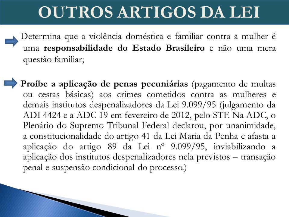 Determina que a violência doméstica e familiar contra a mulher é uma responsabilidade do Estado Brasileiro e não uma mera questão familiar; Proíbe a a