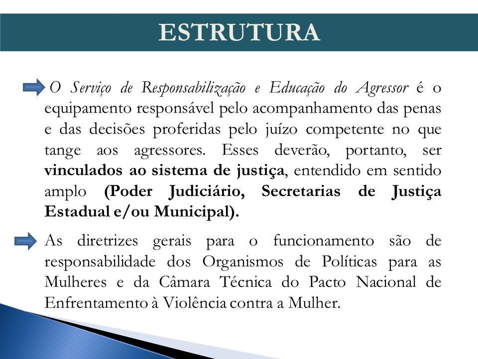 O Serviço de Responsabilização e Educação do Agressor é o equipamento responsável pelo acompanhamento das penas e das decisões proferidas pelo juízo competente no que tange aos agressores.