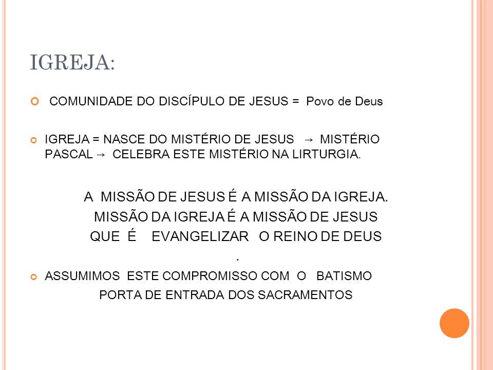 IGREJA: COMUNIDADE DO DISCÍPULO DE JESUS = Povo de Deus IGREJA = NASCE DO MISTÉRIO DE JESUS MISTÉRIO PASCAL CELEBRA ESTE MISTÉRIO NA LIRTURGIA.